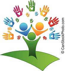 logo, figuren, hartjes, boompje, handen