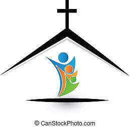 logo, gezin, kerk