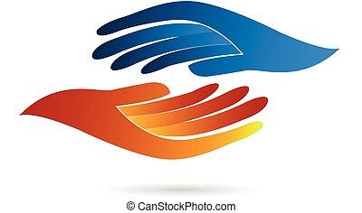 logo, handdruk, zakelijk