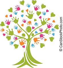 logo, handen, boompje, hartjes, mensen