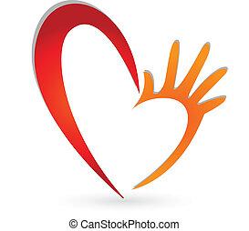 logo, handen, hart