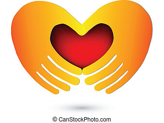 logo, hart, rood, handen
