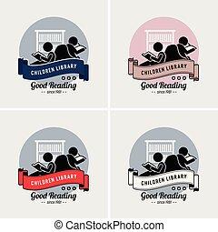 logo, kinderen, bibliotheek, design.