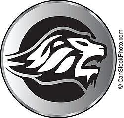 logo, leeuw, agressief, gezicht