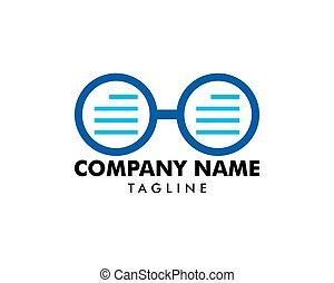 logo, lezende , ontwerp, mal, bril