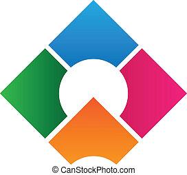 logo, ontwerp, collectief, mal