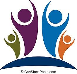 logo, optimistisch, gezin, mensen