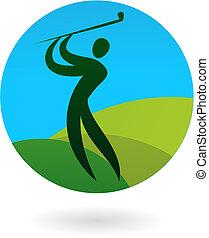 logo, schommel, golf, /, pictogram
