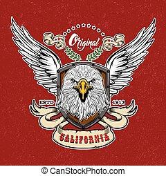 logo, stijl, ouderwetse , adelaar