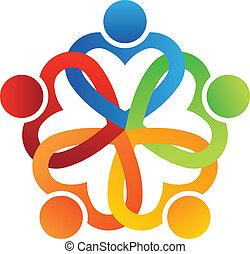 logo, team, interlaced, 5, hartjes