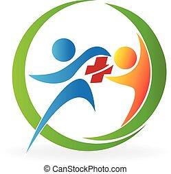 logo, teamwork, gezondheidszorg