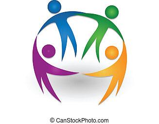 logo, teamwork, samen, mensen