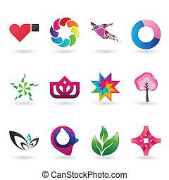 logo, tijdgenoot, verzameling, pictogram