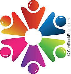 logo, vector, groep, mensen, teamwork