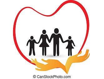 logo, vector, liefde, gezin