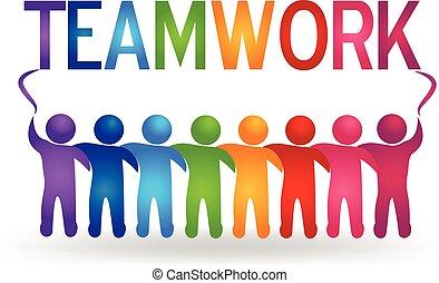 logo, vector, teamwork, mensen, partner