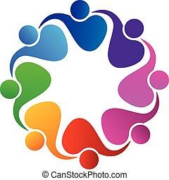 logo, vector, teamwork, mensen