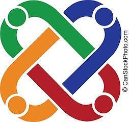 logo, verbinding, teamwork, mensen