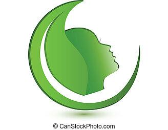 logo, vrouw, blad, gezicht