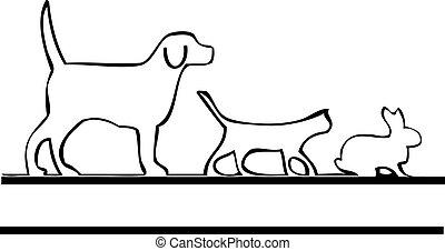 logo, wandelende, huisdieren