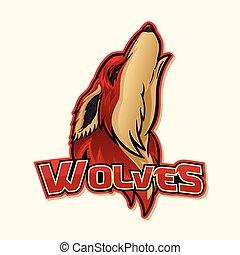 logo, wolf, kleurrijke