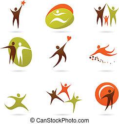 logos, 16, abstract, mensen, -, verzameling