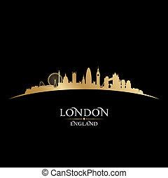 londen, engeland, zwarte achtergrond, skyline, stad, silhouette