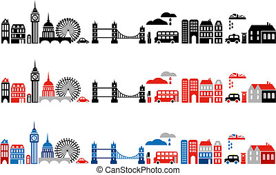 londen, illustratie, stad, vector