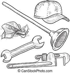loodgieterswerk, schets, voorwerpen