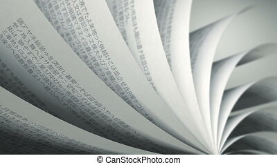 (loop), boek, draaien, pagina's, japanner