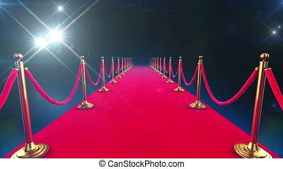looped, animatie, event., rood tapijt