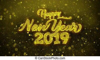 looped., kaart, uitnodiging, wensen, 2019, begroetenen, jaar, nieuw, vuurwerk, viering