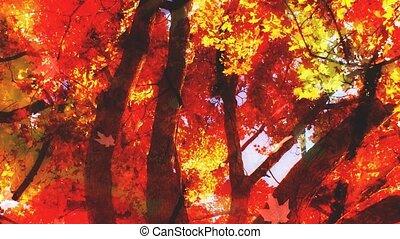 looping, loof twee, achtergrond, herfst