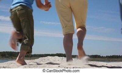 looppas, gezin, zand, back, vier, aanzicht