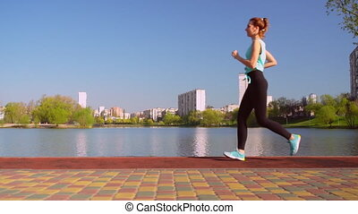 looppas, jogger, jonge, haar, buitenshuis, rood