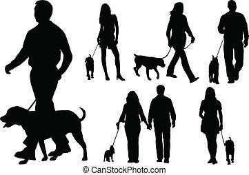 lopende met honden, mensen