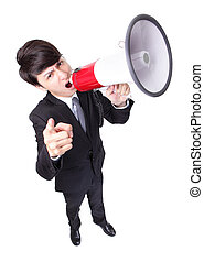 loudly, gegil, man, zakelijk, megafoon