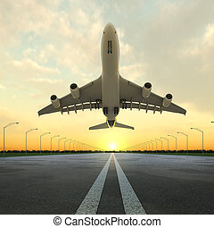 luchthaven, schaaf, ondergaande zon , takeoff