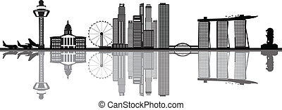 luchthaven, skyline, merlion, singapore