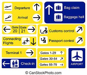 luchthaven, tekens & borden