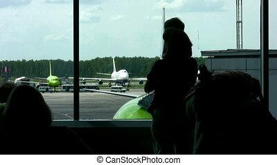 luchthaven, venster, gezin