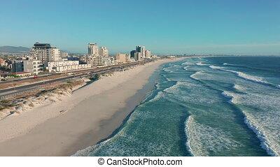 luchtopnames, beaches., mensen., nee, zuiden, kaap, lockdown, town., lege, overzicht., afrika