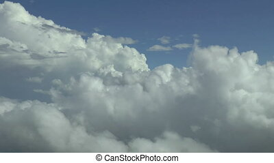 luchtopnames, boven, footage., wolken