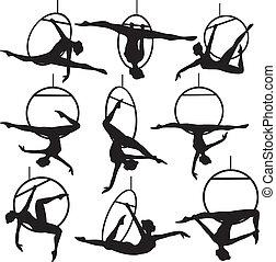 luchtopnames, hoepel, acrobaat