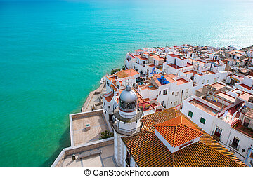 luchtopnames, peniscola, castellon, dorp, strand, spanje, aanzicht