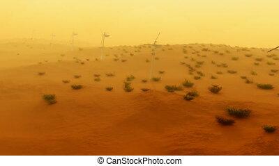 luchtopnames, stroom, turbines, (1121), zand, storm, woestijn, wind