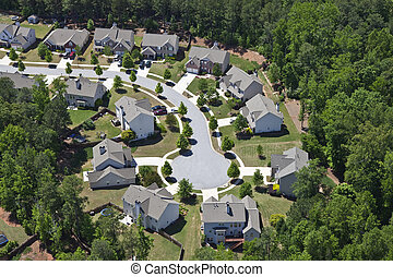 luchtopnames, usa, oostelijk, moderne, suburbia, middenklasse