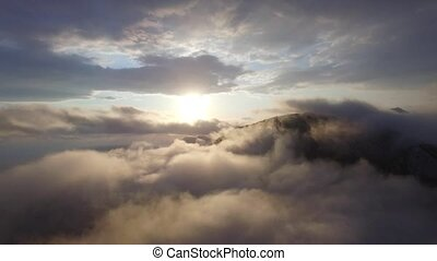 luchtopnames, wolken, boven, aanzicht