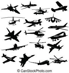 luchtvaart, silhouette