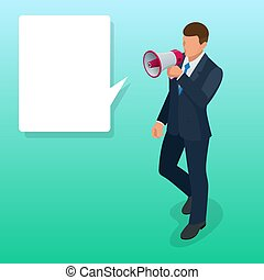 luidspreker, plat, isometric, loudspeaker., illustration., vector, spreker, of, man